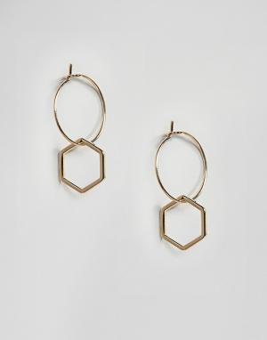 Orelia Позолоченные серьги-кольца с шестигранником. Цвет: золотой