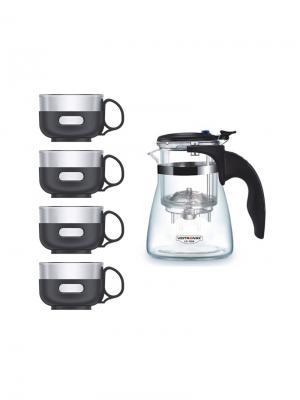 Набор LP-575A Стеклянный чайник заварочный 750 мл,с кнопкой + 4 чашки х 150 мл Veitron. Цвет: прозрачный, черный