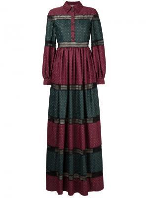 Полосатое платье в пол Huishan Zhang. Цвет: красный