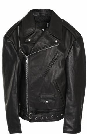 Кожаная куртка свободного кроя с косой молнией Vetements. Цвет: черный