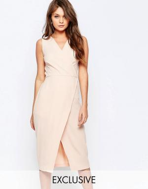 Closet London Платье миди с запахом спереди. Цвет: розовый