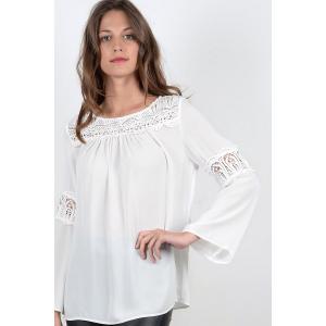 Блузка однотонная с круглым вырезом и длинными рукавами MOLLY BRACKEN. Цвет: экрю