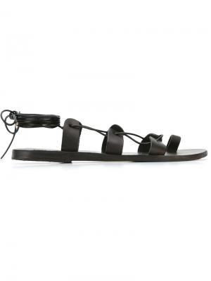 Сандалии Alcyone  со шнуровкой Ancient Greek Sandals. Цвет: чёрный
