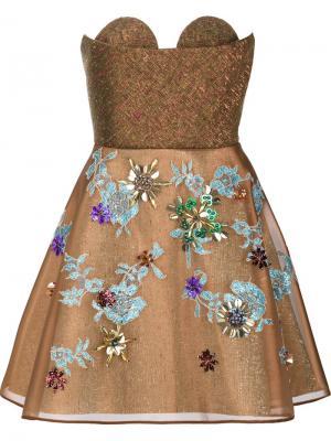 Декорированное платье без бретелек Delpozo. Цвет: коричневый
