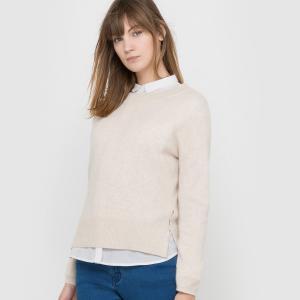 Пуловер с круглым вырезом из кашемира La Redoute Collections. Цвет: бежевый меланж,розовый меланж,серый меланж