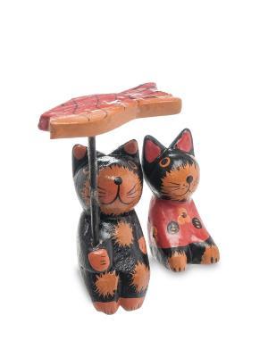 Статуэтка mini КОТ и КОШКА под зонтиком, набор 2 шт Decor & gift. Цвет: коричневый, черный