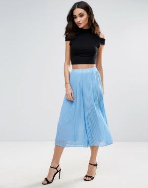 Jovonna Плиссированная юбка-брюки Quiet Moment. Цвет: синий