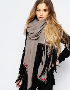 Blank Oversize-шарф с кисточками BL^NK. Цвет: серый