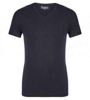 Синяя хлопковая футболка с треугольным вырезом Bread&Boxers. Цвет: синий
