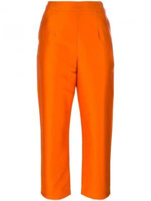 Классические укороченные брюки Isa Arfen. Цвет: жёлтый и оранжевый