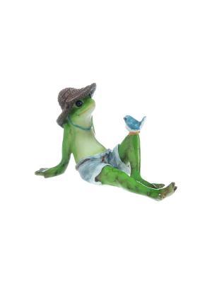 Фигурка декоративная Лягушка на отдыхе Elan Gallery. Цвет: зеленый