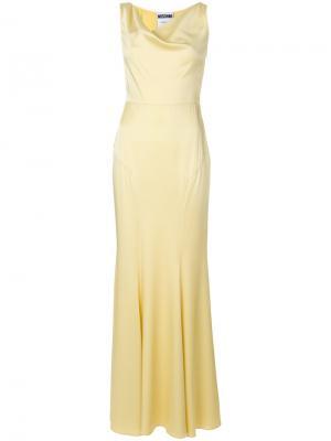 Вечернее платье с воротником-хомут Moschino. Цвет: жёлтый и оранжевый