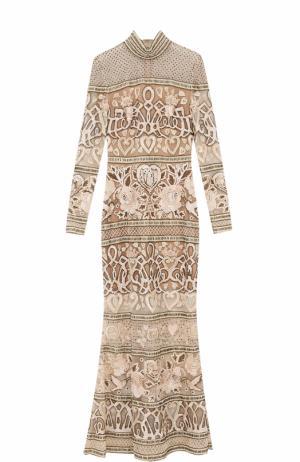 Приталенное платье-макси с вышивкой Elie Saab. Цвет: бежевый