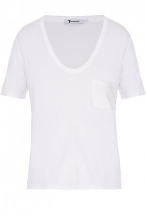 Укороченная футболка свободного кроя с накладным карманом T by Alexander Wang. Цвет: белый