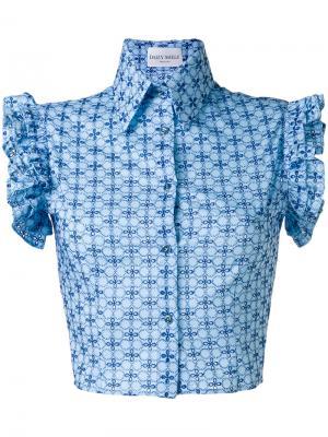 Блузка с оборчатыми рукавами Daizy Shely. Цвет: синий