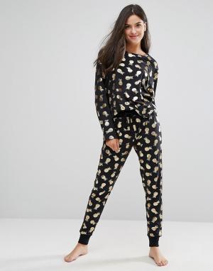 Chelsea Peers Пижама с принтом ананасов. Цвет: черный