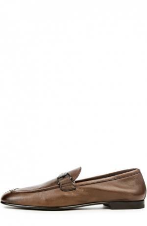 Классические лоферы с пряжкой-трензелем Ermenegildo Zegna. Цвет: коричневый