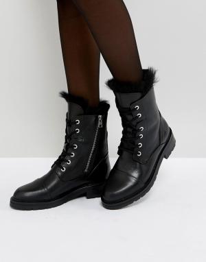 AllSaints Ботинки с овечьей шерстью и шнуровкой. Цвет: черный