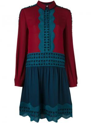 Платье с волнистой отделкой Tory Burch. Цвет: синий