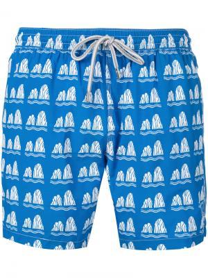 Пляжные шорты с принтом Capricode. Цвет: синий