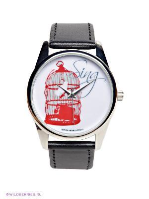 Часы Птичка в клетке Mitya Veselkov. Цвет: черный, красный, белый