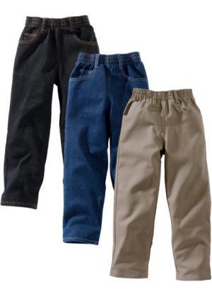 Джинсы в комплекте (3 шт.), очень широкий (черный «потертый» + темно-синий серо-коричневый) bonprix. Цвет: черный «потертый» + темно-синий «потертый» + серо-коричневый