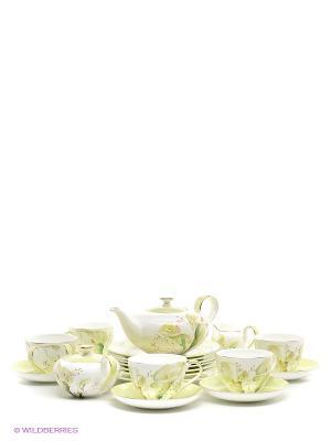 Чайный сервиз на 6 персон Калла Pavone. Цвет: белый, светло-зеленый