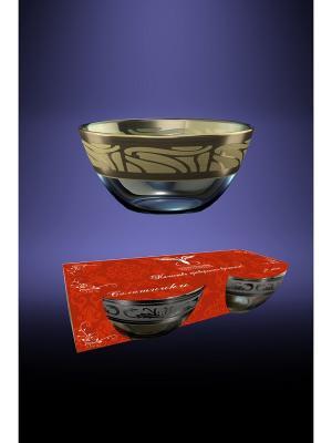 Салатник 1 шт с рисунком Версаче (Диаметр-19 см) Гусь-Хрустальный. Цвет: прозрачный