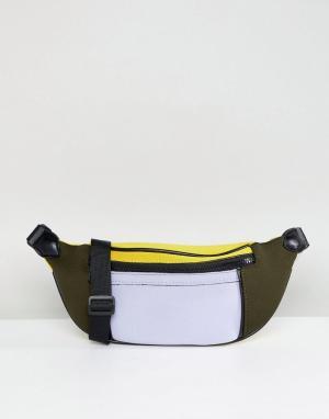 ASOS Сумка-кошелек на пояс в стиле колор блок DESIGN. Цвет: мульти