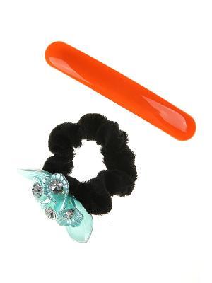 Комплект (Резинка для волос, заколка автомат) Happy Charms Family. Цвет: оранжевый, черный, голубой