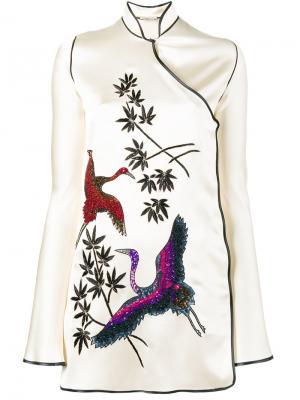 Платье-кимоно Elena с рисунком Attico. Цвет: телесный