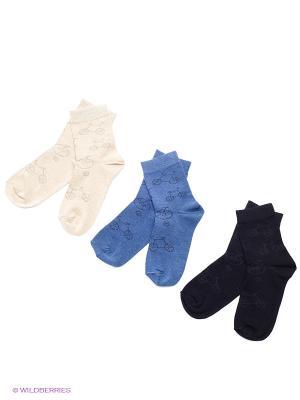 Носки детские, 3 пары БРЕСТСКИЕ. Цвет: черный, синий, светло-бежевый