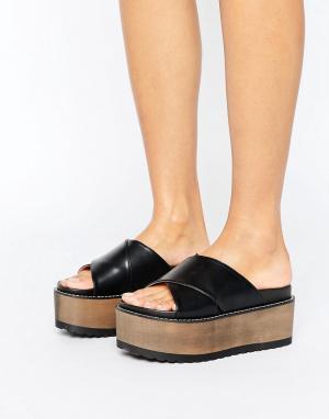 Raid Черные сандалии на платформе с перекрестными ремешками Alaska. Цвет: черный