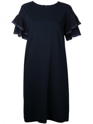 Платье-шифт с расклешенными рукавами Muveil. Цвет: синий