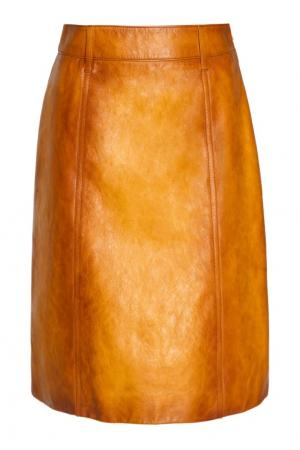 Кожаная юбка Prada. Цвет: желтый