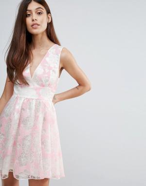 Zibi London Платье из органзы с набивкой флок. Цвет: розовый