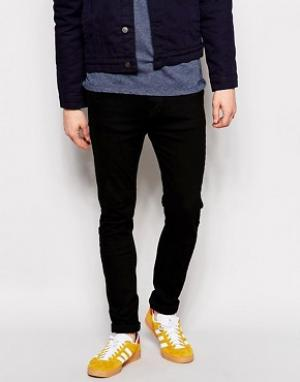 Dr Denim Черные джинсы слим с заниженным шаговым швом Leon. Цвет: черный