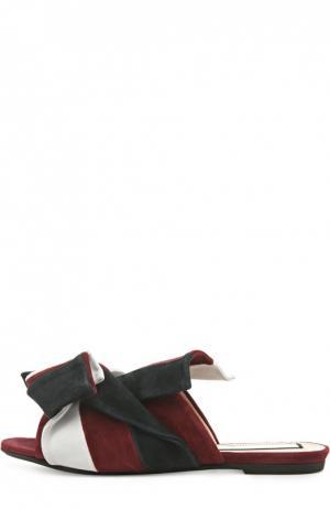 Замшевые шлепанцы с бантом No. 21. Цвет: бордовый