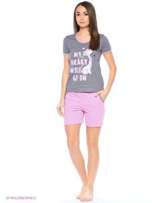 Комплект домашней одежды (футболка, шорты) HomeLike. Цвет: розовый, серый