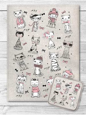 Набор кухонный Котики модные GrandStyle. Цвет: черный, серый меланж, бледно-розовый