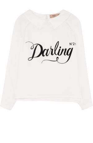 Блуза с кружевной отделкой и топом No. 21. Цвет: белый