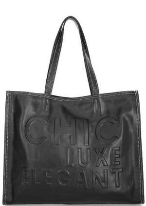 Вместительная кожаная сумка с тиснением Io Pelle. Цвет: черный