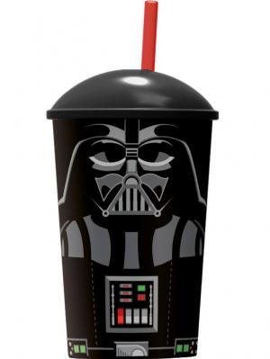 Стакан пластиковый с соломинкой и крышкой (400 мл). Звёздные войны Дарт Вейдер Stor. Цвет: красный, черный