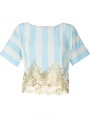 Полосатая футболка с кружевным подолом Rosamosario. Цвет: синий