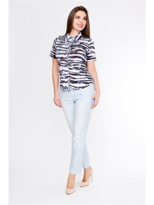 Блузка LAFEI-NIER. Цвет: черный, голубой, серый