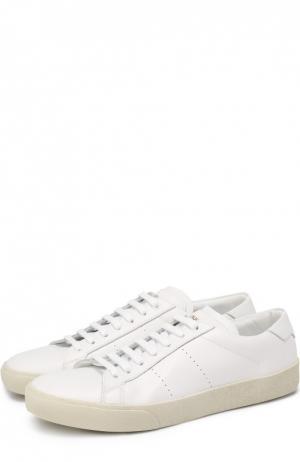 Кожаные кеды Court Classic на шнуровке Saint Laurent. Цвет: белый