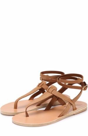 Кожаные сандалии Estia с ремешком на щиколотке Ancient Greek Sandals. Цвет: бежевый