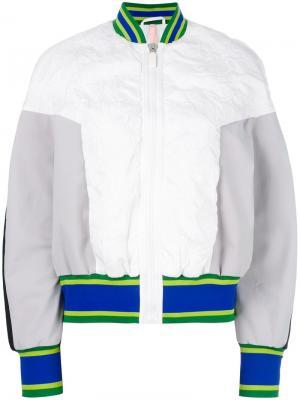 Куртка бомбер с отделкой в полоску No Ka Oi Ka'. Цвет: белый