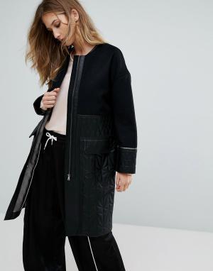 Urbancode Пальто со стеганой отделкой Ivanna. Цвет: черный