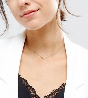 ASOS Ожерелье из позолоченного серебра с подвеской Водолей. Цвет: медный